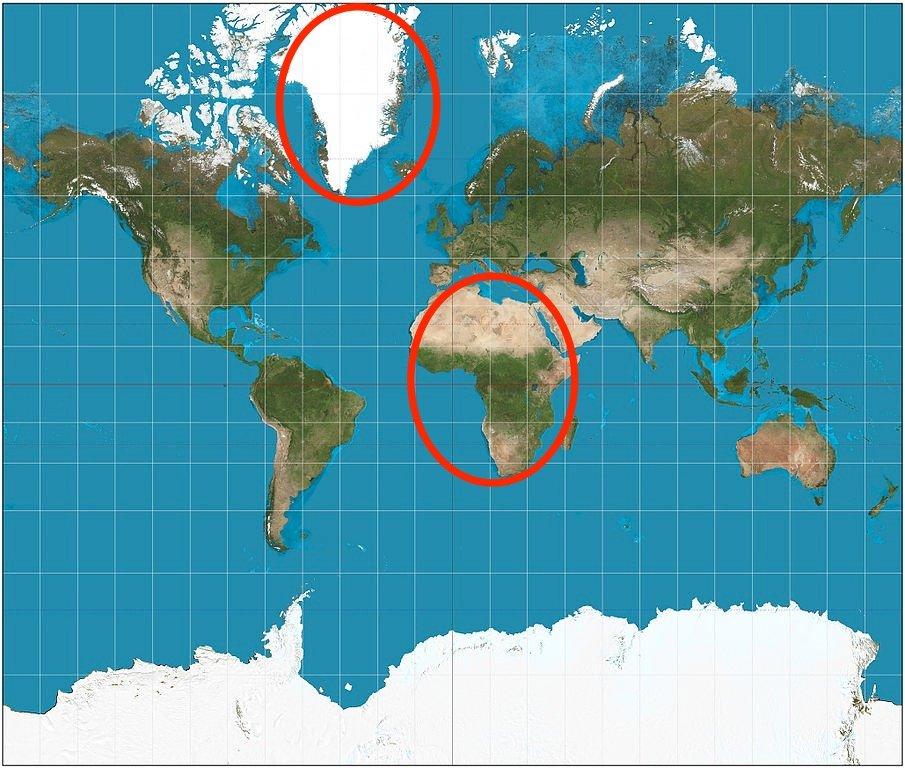Почему Гренландия такая большая на картах