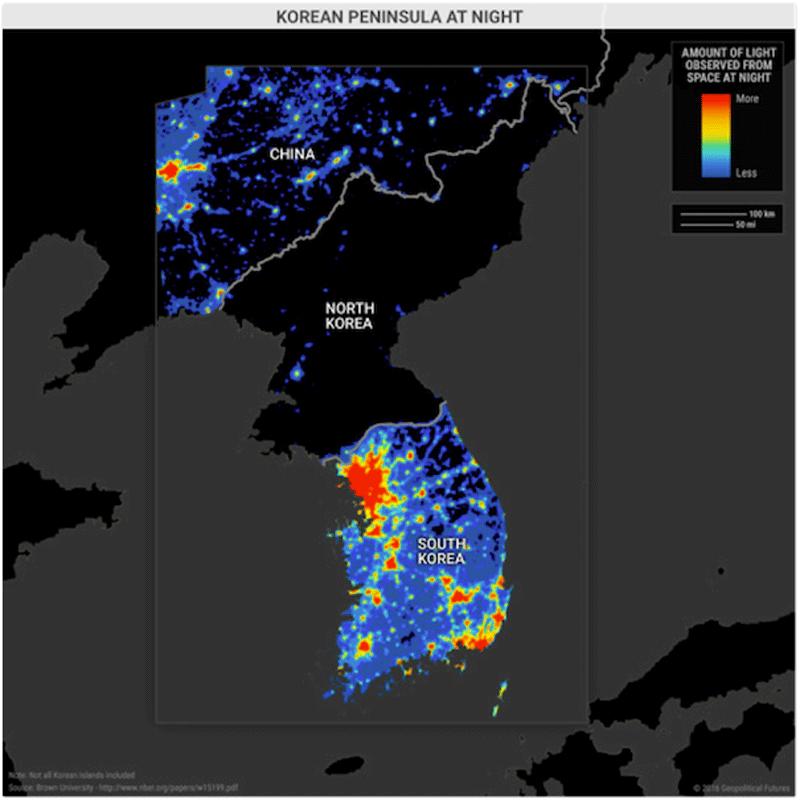 Коммунизм vs капитализм: вид на Корейский полуостров из космоса ночью