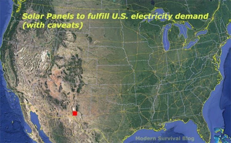Илон Маск: для полного обеспечения энергией США, достаточно всего 100х100 миль солнечных панелей