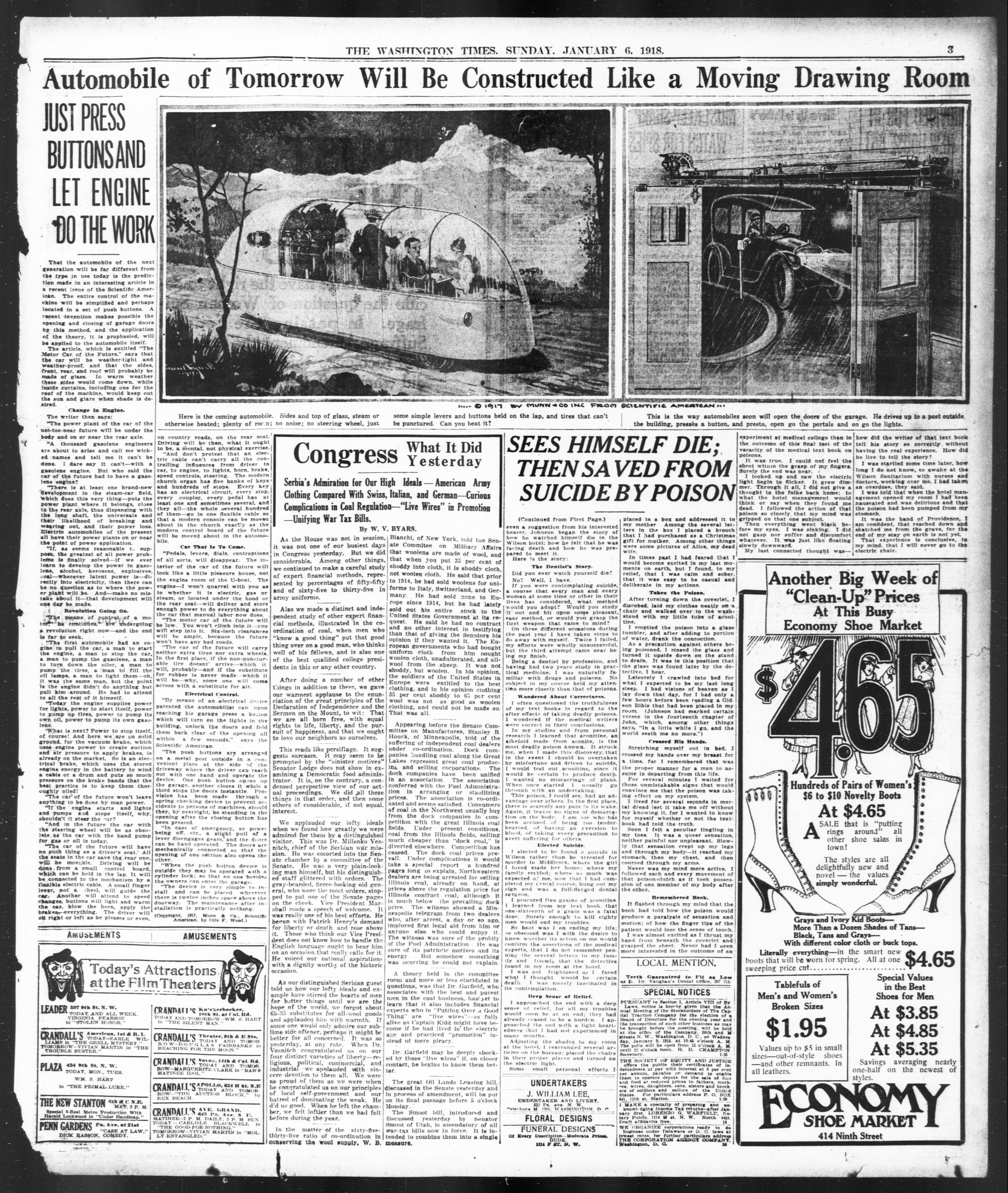 предсказание об автомобиле будущего - The Washington Times 1918