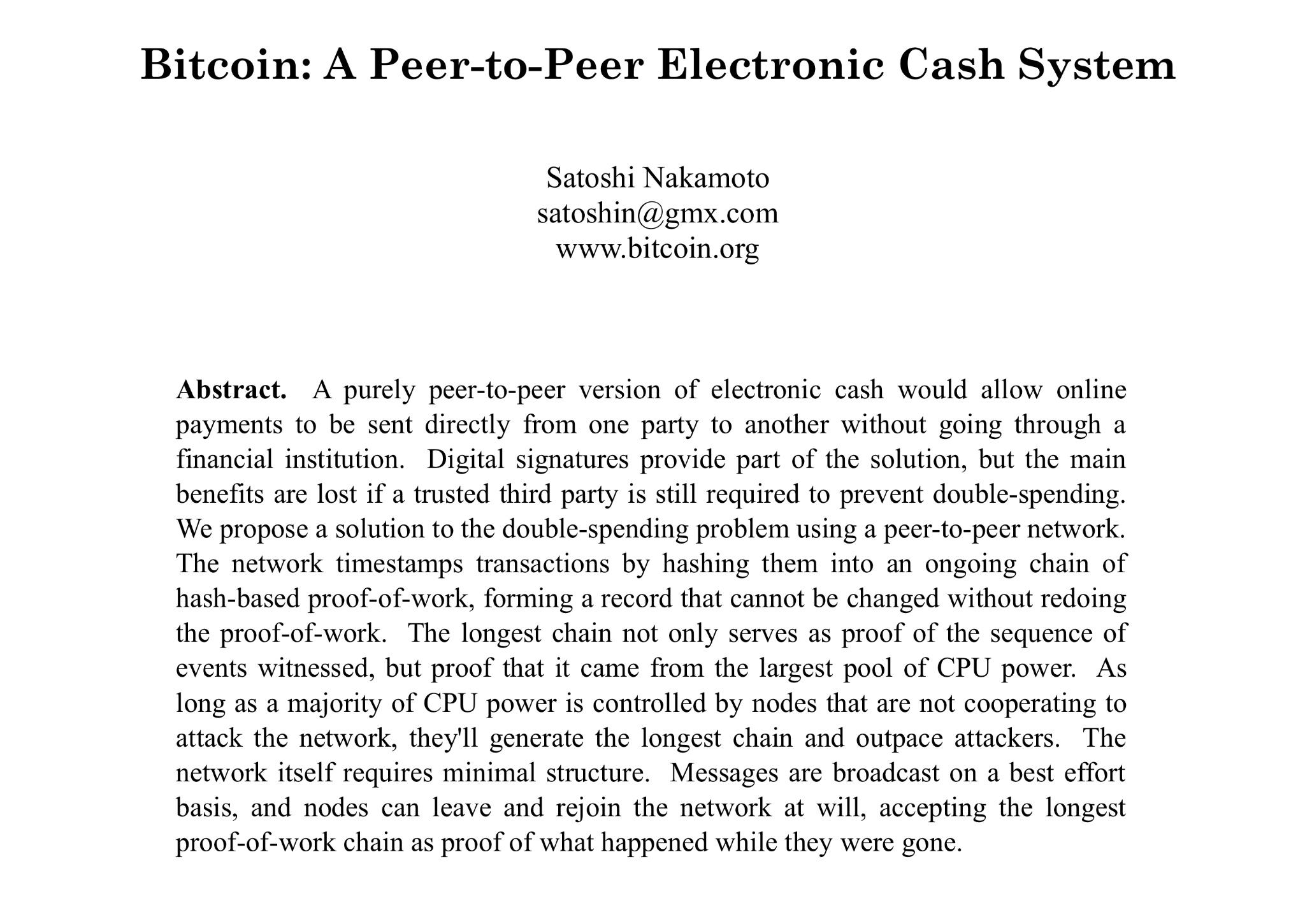 Эмиссия биткоина - bitcoin white paper