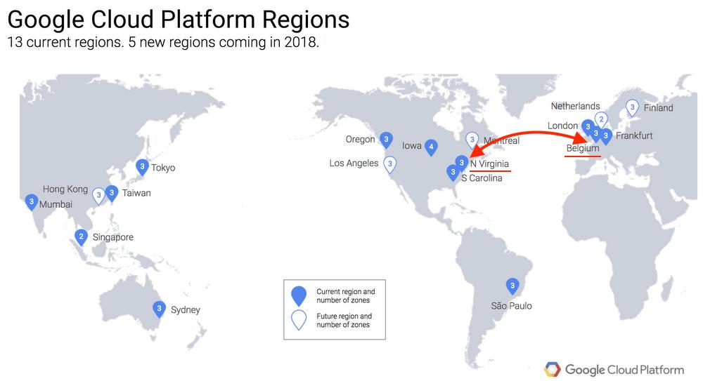 Подводный кабель Google - регионы и зоны