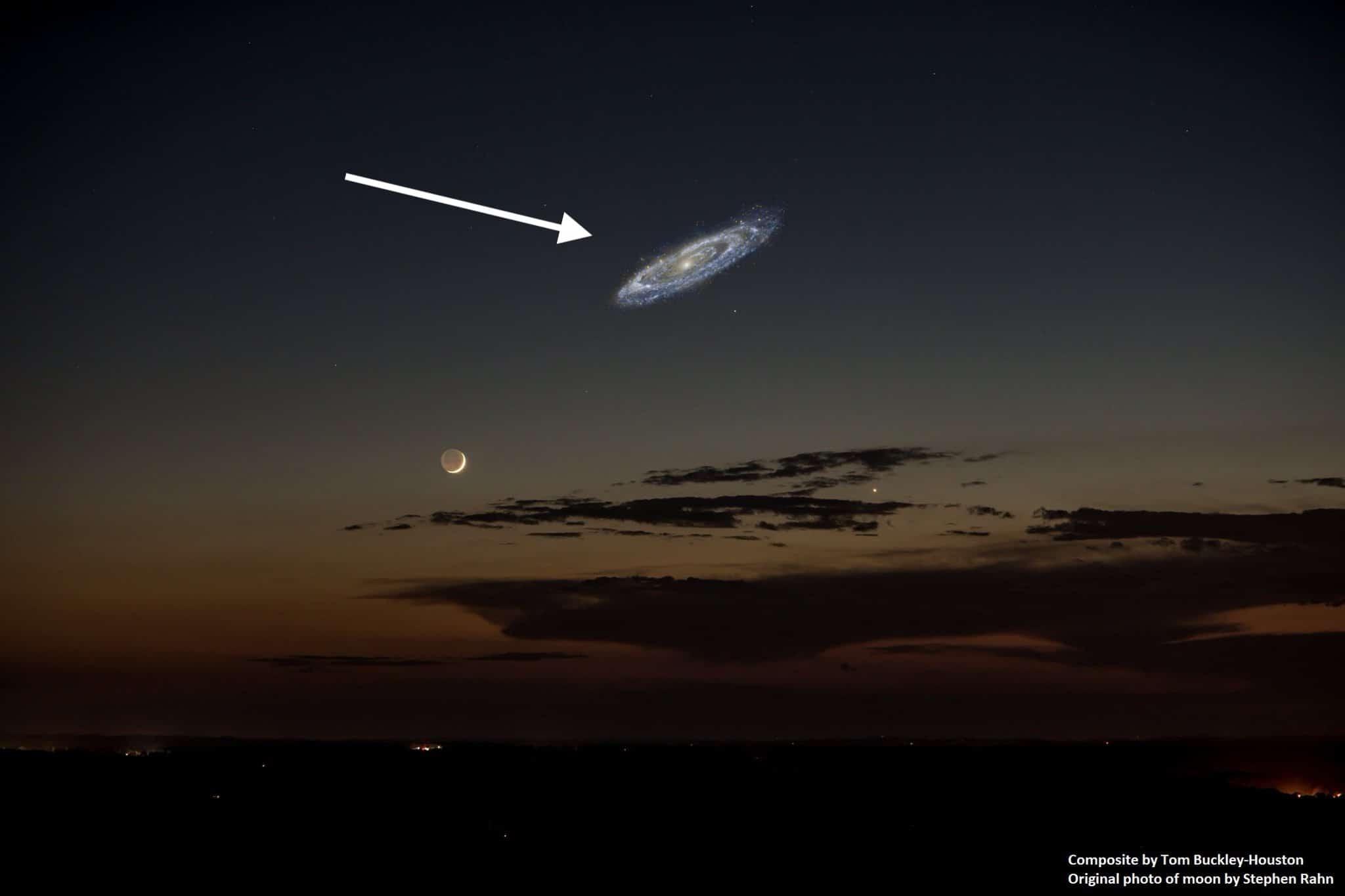 Как найти Андромеду - на небе она выглядит примерно в 6-7 раз больше диска Луны