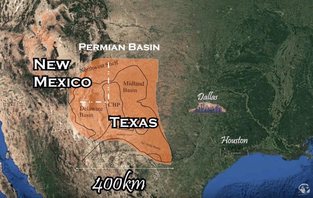 запасы нефти и газа в США - бассейн Permian