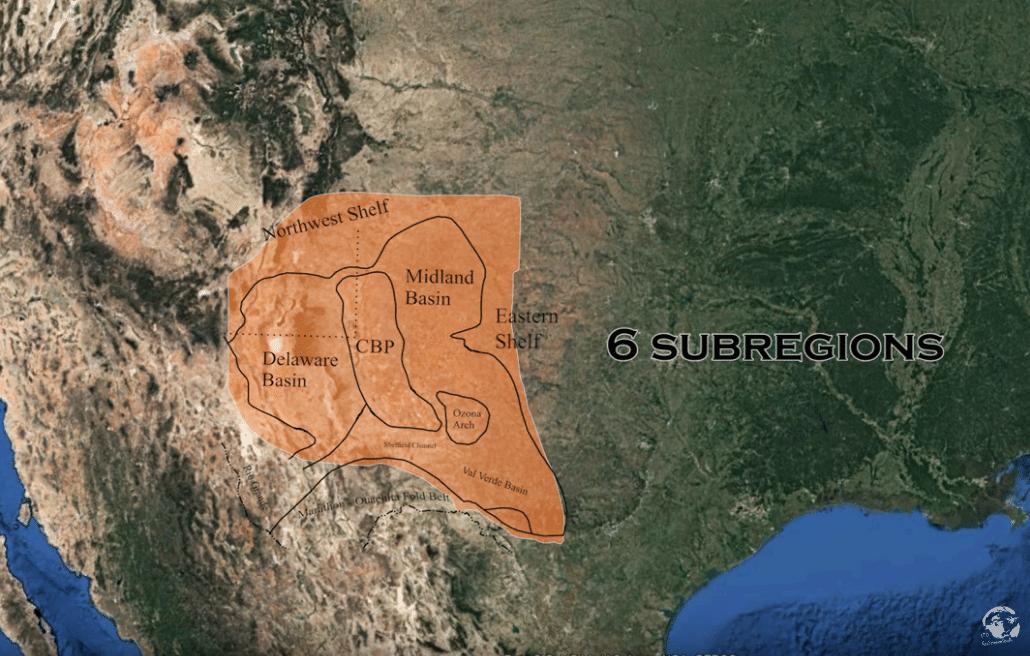 запасы нефти и газа в США - бассейн Permian_6субрегионов