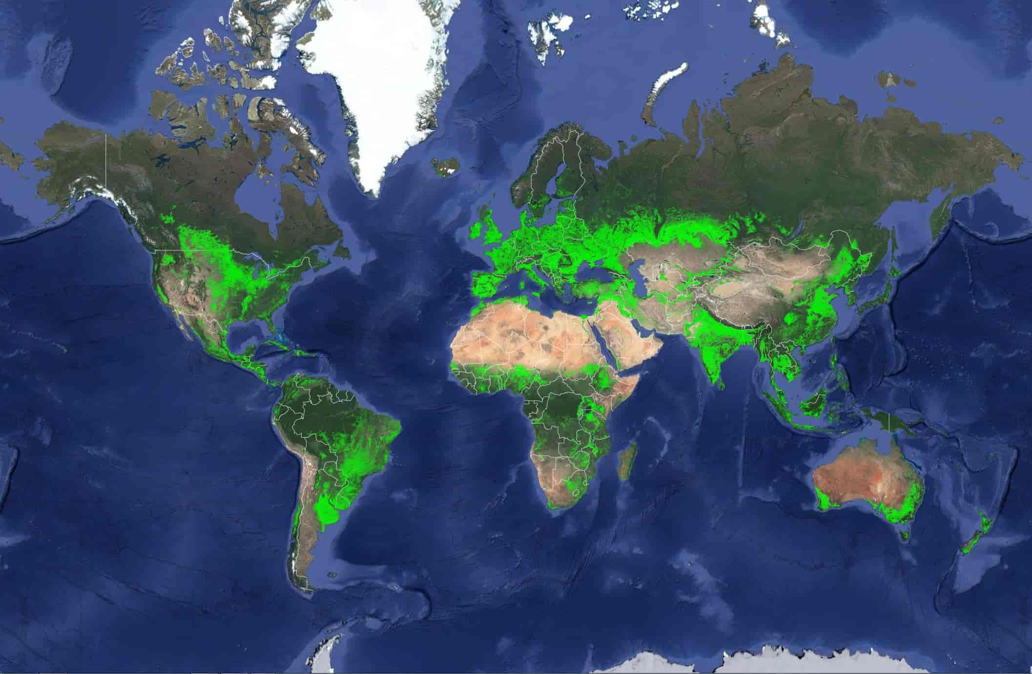пахотные земли - карта мира