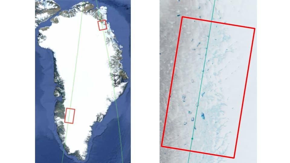 таяние ледников Гренландии - Западное и центральное побережье Гренландии на снимках из космоса усеяно ярко-синими водоемами талой воды