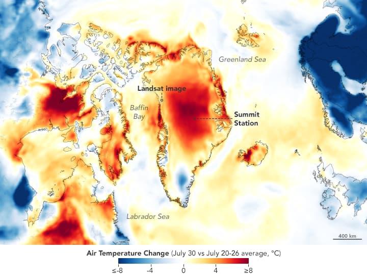 таяние ледников Гренландии - На данной карте показана кратковременная аномалия температуры
