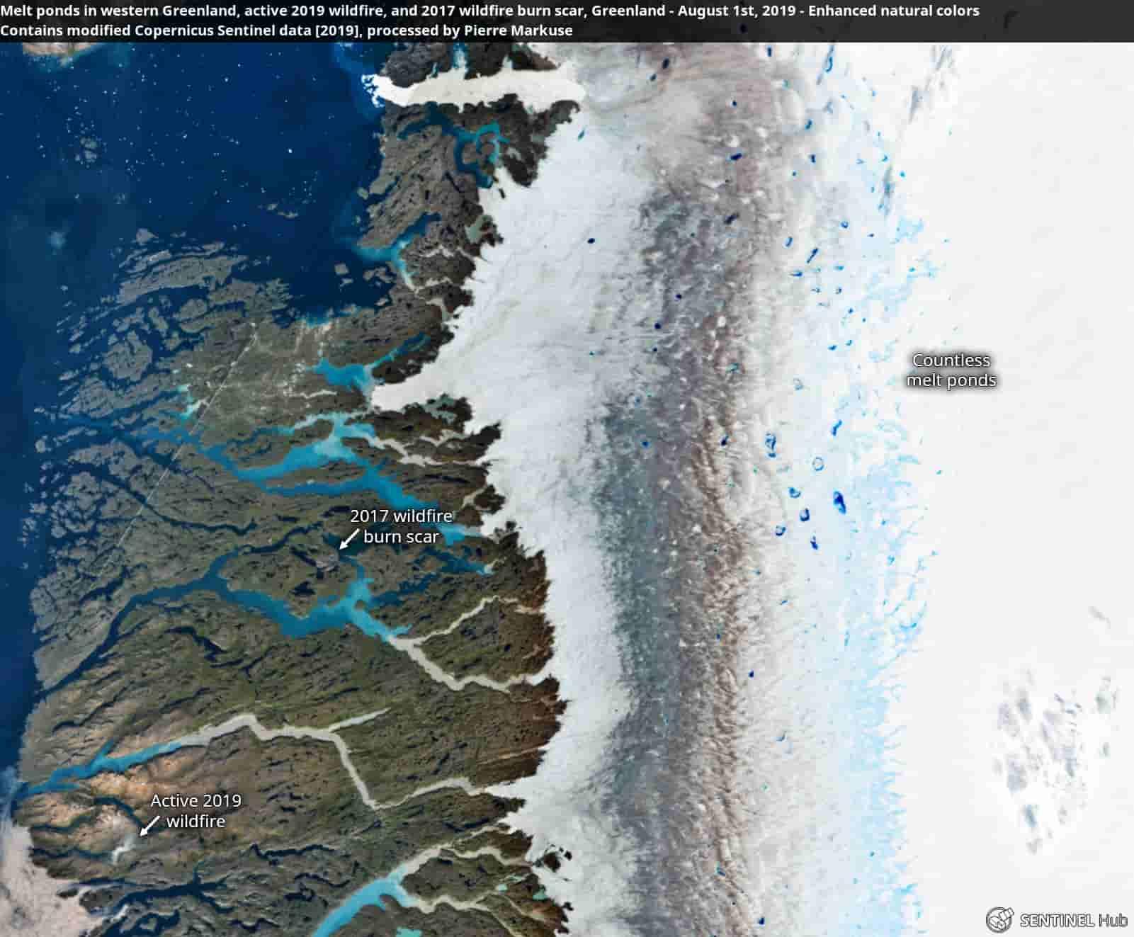 таяние ледников Гренландии - в результате лесных пожаров в районах Арктики происходит осаждение частиц пепла и сажи, затемняющих поверхность льда, что ускоряет эффект таяния